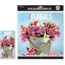 2018 Florals Wall Calendar & Diary Christmas Birthday Gift Square Home Office Flowers