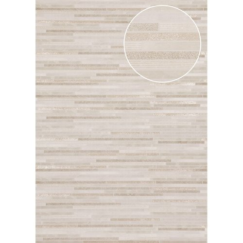 Atlas ICO-5076-2 Stone tile wallpaper shimmering grey-white gold 7.035 sqm
