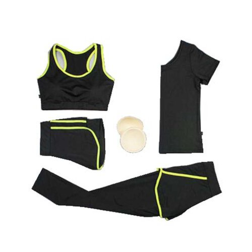 Yoga Suit, Women's 4 Pieces Tracksuits Jogging Outfits, Fitness Training Set