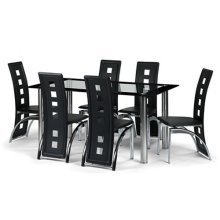 Biasco Black Dining Set Glass & Faux Leather - Fully Assembled Chairs