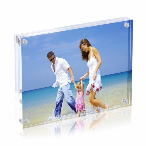 AMEITECH 13x18 cm Acrylic Photo Frame, Magnetic Picture Frames, 10 + 10MM Thickness Stand in Desk or Table, Clear