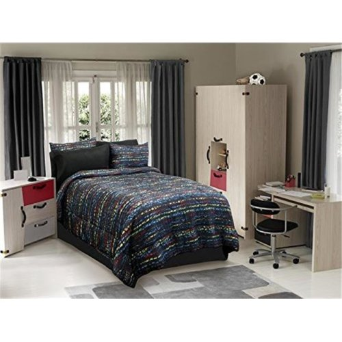 Veratex VX736425630354 Urban Kid Comforter Set, Black Multi - Twin