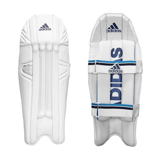 adidas Libro 1.0 Mens Cricket Wicket Keeper Pads Leg Guards White/Blue