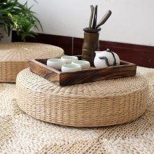 Natural Straw Pouffe 40cm | Round Wicker Cushion