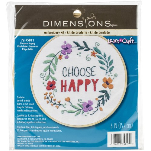 """Dimensions Embroidery Kit W/Hoop 6""""-Choose Happy Stitched In Thread"""