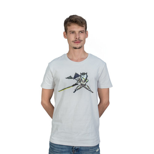 OVERWATCH Genji Pixel T-Shirt, Unisex, Large, White (TS004OW-L)