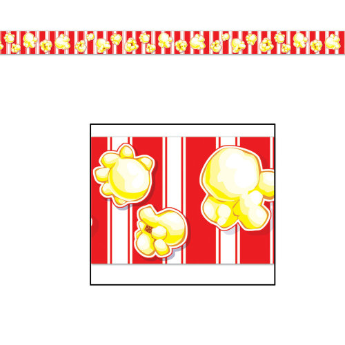 20ft Hollywood Movie Popcorn Party Banner Tape - Circus Party Decorations