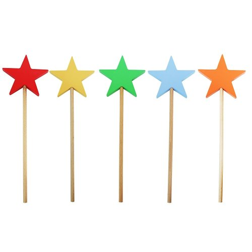 Obique Children's Wooden Toy Coloured Star Shaped Wands, Set of 5
