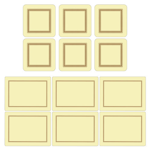 Pimpernel Classic Cream Placemats and Coasters Set of 6