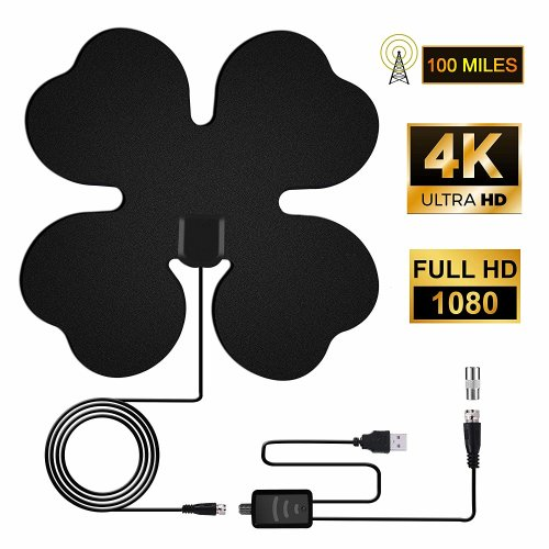 TV Aerial, HD TV Antenna 100 Miles Range TV Aerial Indoor Amplified Digital TV Aerial with 4M Cable TV Antenna Support Digital TV 4K 1080P HD Aerial for DVB-T/ISDB-T/DMB-T/H