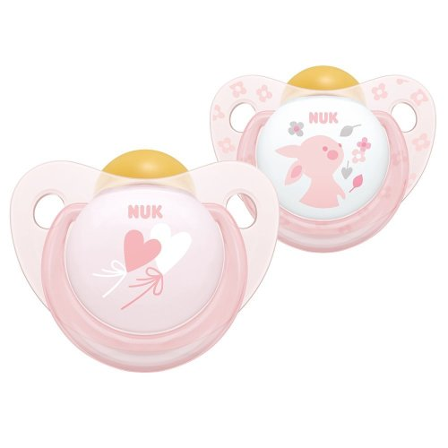 NUK Rose and Blue Latex Soothers, Pink, 0-6 Months