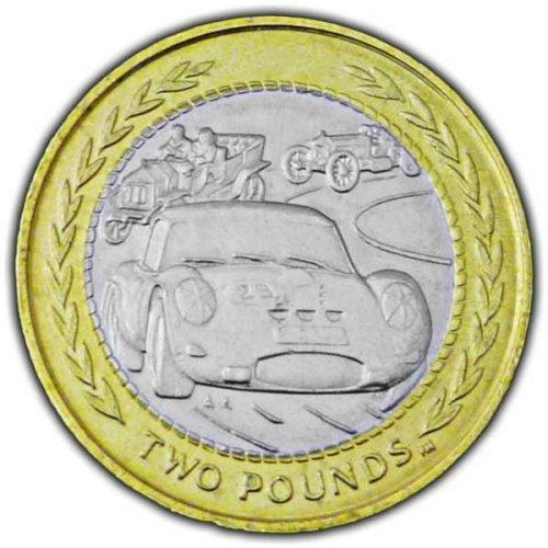 Isle of Man 1998 Vintage Rally Car £2 Bi-Metal Coin (Circulated)