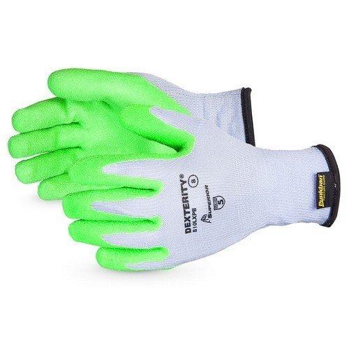 Superiorglove SUS10LXPB06 Dexterity 10 Gauge Cotton Polly Knot Wrist Gloves with Hi Vis Latex Palm Lines with Punkban Size 6