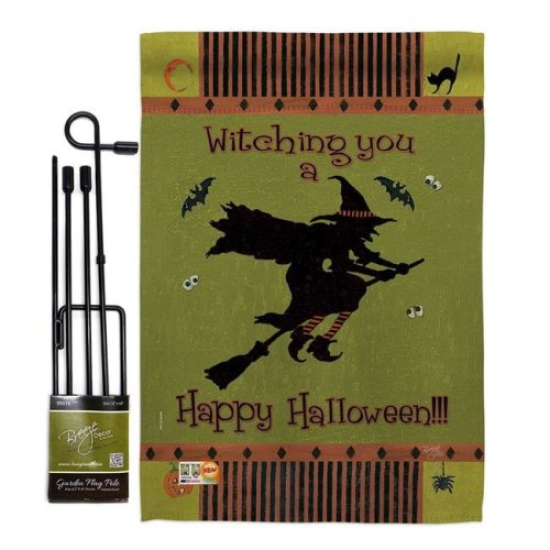 Breeze Decor BD-HO-GS-112053-IP-BO-D-US12-SB 13 x 18.5 in. Witching You Fall Halloween Vertical Double Sided Mini Garden Flag Set with Banner Pole