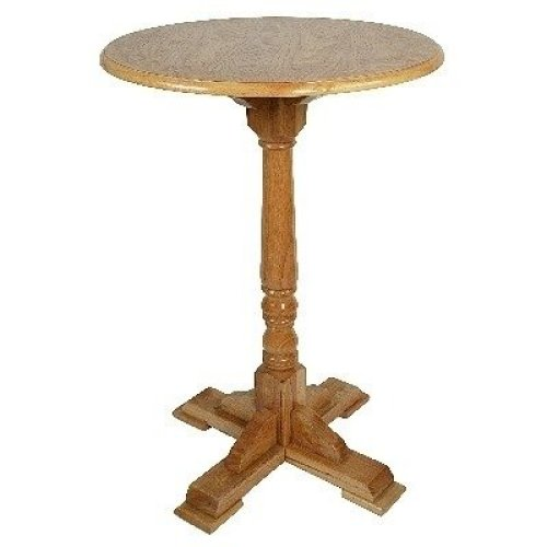 Poala Solid Hardwood Tall Poseur Bar Kitchen Table - Round Top - Oak or Frame