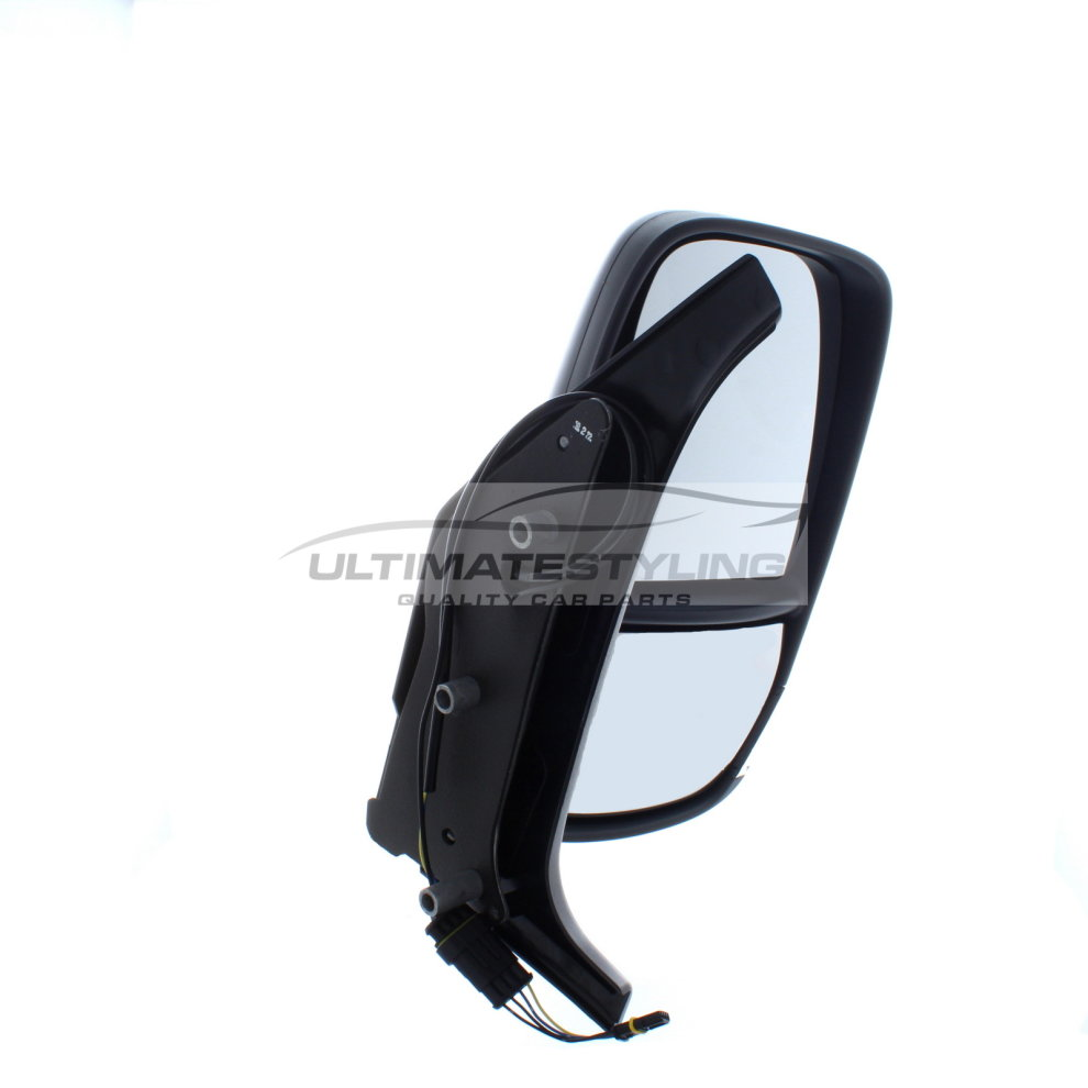 Ultimate Styling Replacement Cable None Power Folding Wing Door Mirror With Non-Heated Glass With Black Mirror Cover Cap Side Of Product Drivers Side RH