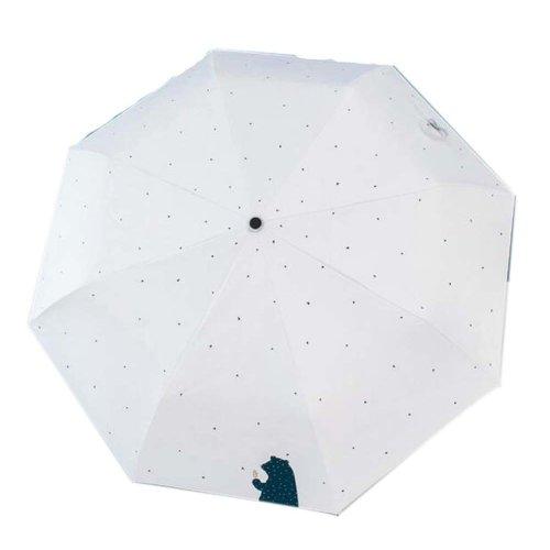 Sunscreen Sun And Rain Umbrella Anti-UV Umbrella Folding Umbrella, White Bear