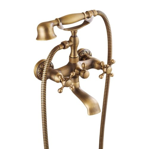 Antique Brass Retro Brushed Bathroom Bath Filler Mixer Tap Wall Mounted
