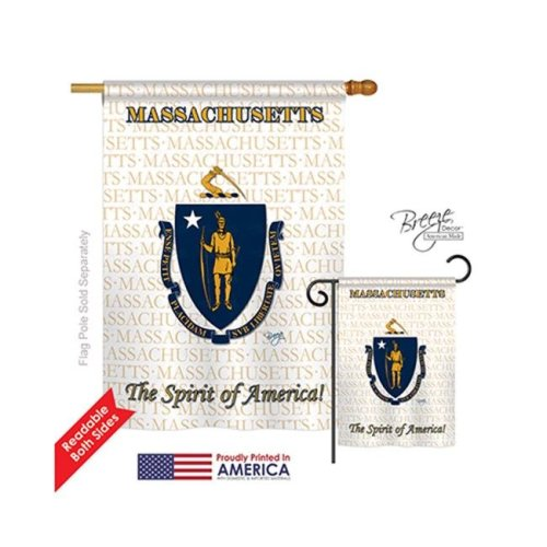 Breeze Decor 08116 States Massachusetts 2-Sided Vertical Impression House Flag - 28 x 40 in.