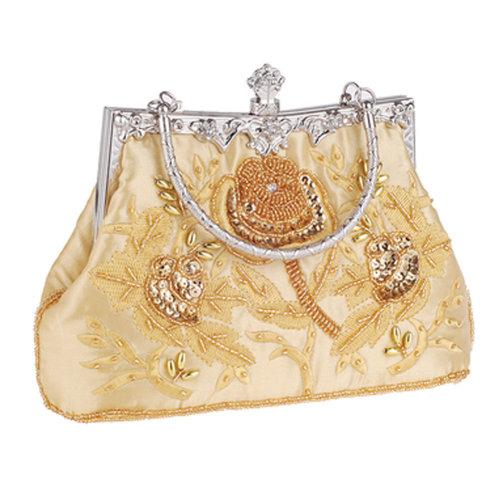 Women's Vintage Style Clutch Evening Bag Elegant Beaded Shoulder Bag Luxurious Handbag Purse,F