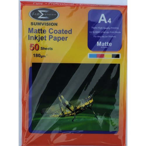 Sumvision A4 180gsm Matte / Matt (Single Sided) Coated Inkjet Paper