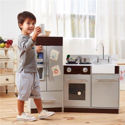Teamson Kids TD-12302B Little Chef Chelsea Modern Play Kitchen, Grey & Espresso