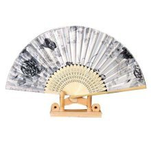 """8.27""""(21cm) Hand Held Folding Fan With a Fabric Sleeve For Protection For Gifts"""