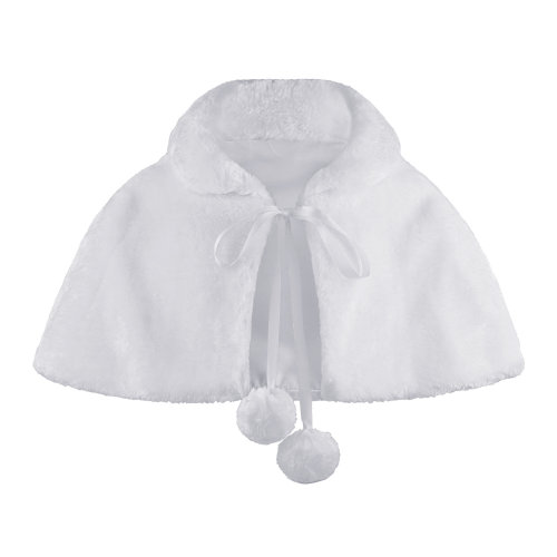 Girls Pom Pom Tie Faux Fur Cape