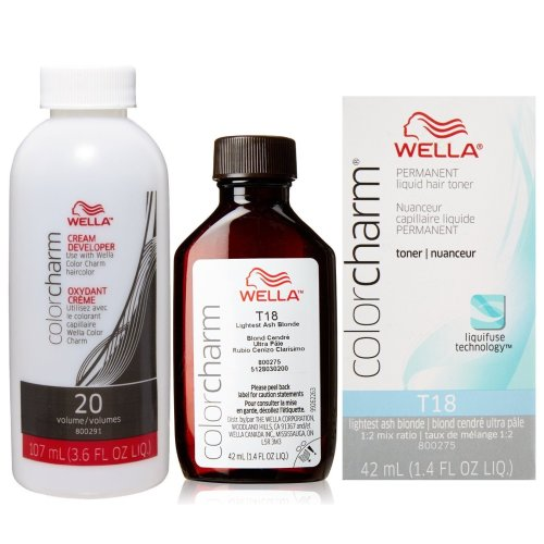 (T18 & Developer) Wella Color Charm Liquid Toner - T18 Lightest Ash Blonde & Developer 20