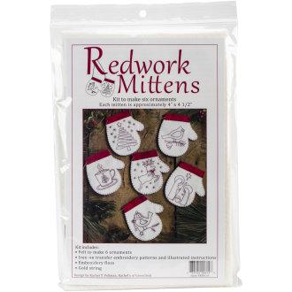 "Redwork Mittens Ornmanet Kit 6/Pkg-4""X4.5"""