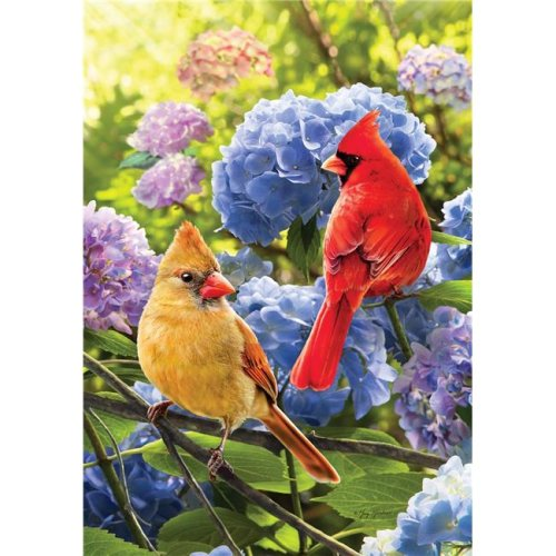 Cardinals in Hydrangeas Double Sided House Flag