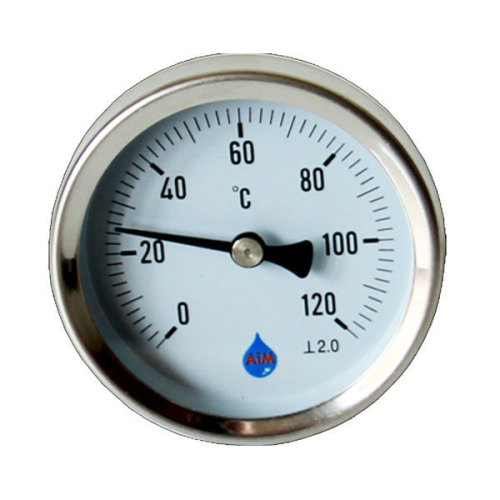 """Solid metal industrial temperature gauge dial probe 1/2"""" rear entry thermometer"""
