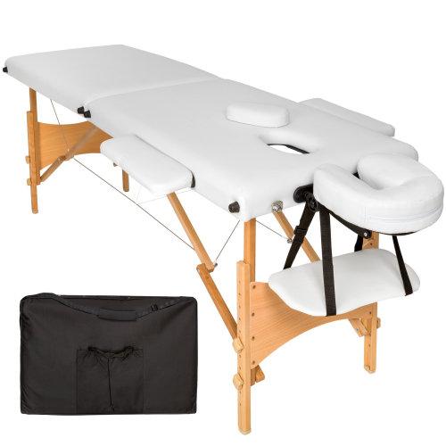 2-zone massage table Freddi 5 cm padding + bag white