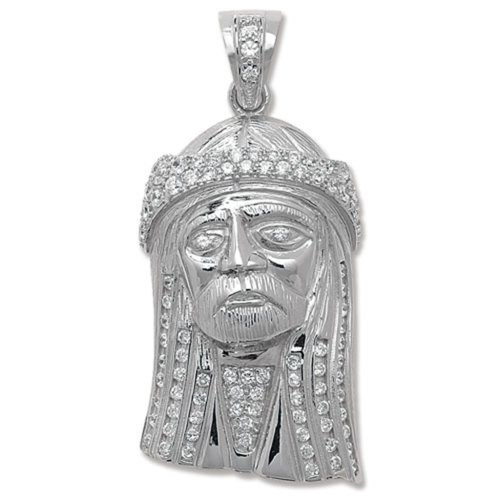 Childrens Sterling Silver Cubic Zirconia Jesus Head Pendant On A Curb Necklace