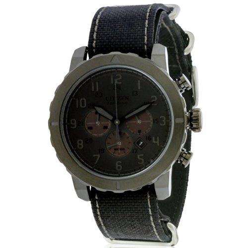 Citizen Eco-Drive Military Chronograph All Black Nylon Mens Watch CA4098-06E