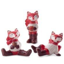 Set of 3 Ceramic Christmas Fox Ornament Figurines