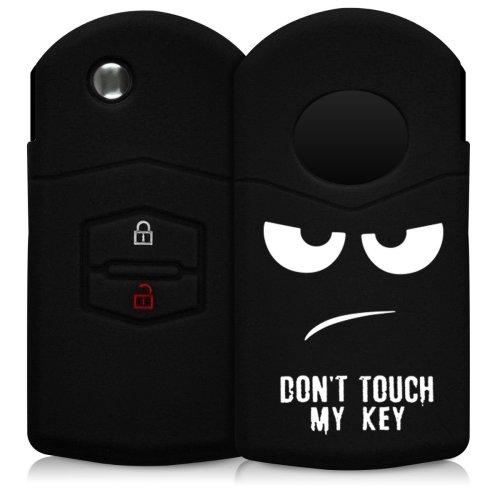 kwmobile Mazda Car Key Cover - Silicone Protective Key Fob Cover for Mazda 2 Button Car Key - White Black