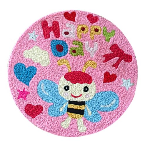 [Pink Bee] Children Bedroom Decor Rug Embroidered Mat Cartoon Carpet,23.62x23.62 inches