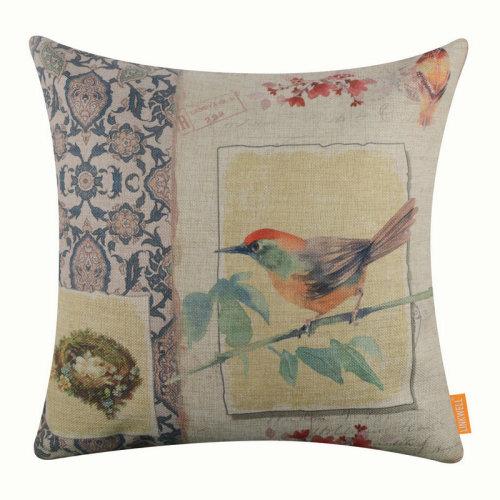 "18""x18"" Watercolor Bird Burlap Pillow Cover Cushion Cover"