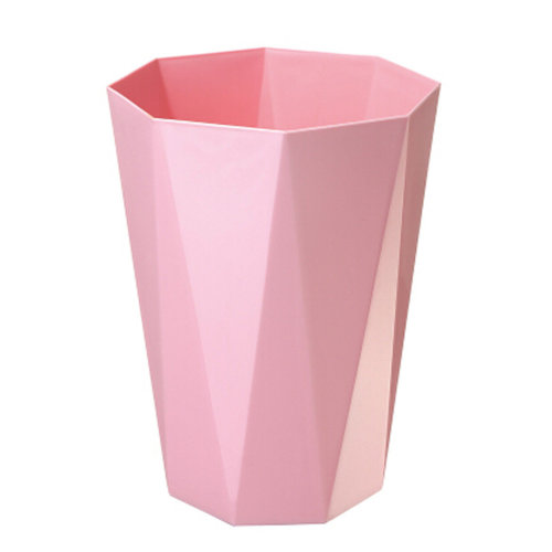 Creative Household Wastebasket Polygon 10L Trash Can/Bins, Pink