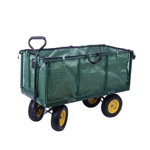 Homcom Large 4 Wheel Garden Cart Truck Trolley Wheelbarrow Tippping