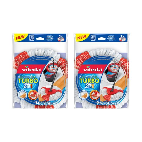 Vileda EasyWring and Clean Turbo 2-in-1 Microfibre Mop Refill Head, Pack of 2-Red
