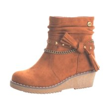 Xti Camel Microfiber Faux Suede Fashion Boots