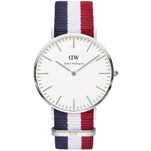 Daniel Wellington DW00100017 Fabric Watch Nato Navy Blue White Red Men