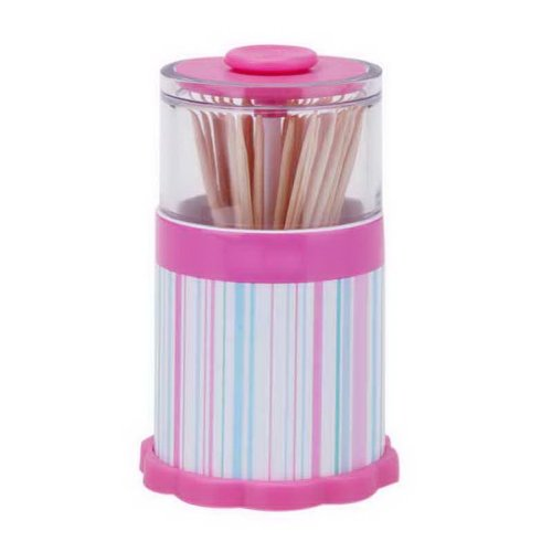 Elegant Creative Toothpick Box White Transparent Top Toothpick Tube Pink Stripes