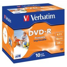 Verbatim DVD-R Wide Inkjet Printable ID Brand 4.7GB DVD-R 10pc(s)