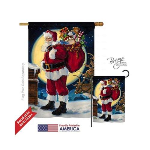 Breeze Decor 14131 Christmas Moonlit Santa 2-Sided Vertical Impression House Flag - 28 x 40 in.
