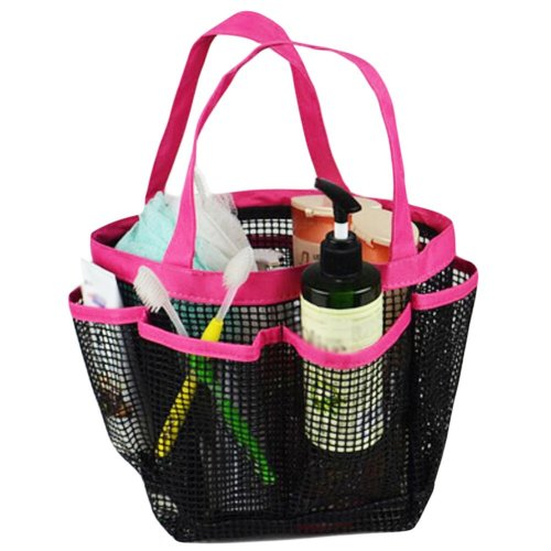 Outdoor Quick Dry Mesh Shower Accessories Tote With Double Handles(Red)