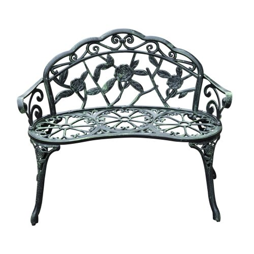 Outdoor Bench Garden Cast Aluminum Seater in Antique Green