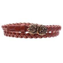 Women Fashion Wave Belt Dress Decorative Belt Rose Belt Buckle [Brown]